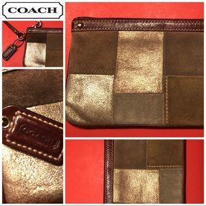 Coach Brown/Tan/Gold Metallic Leather Wristlet